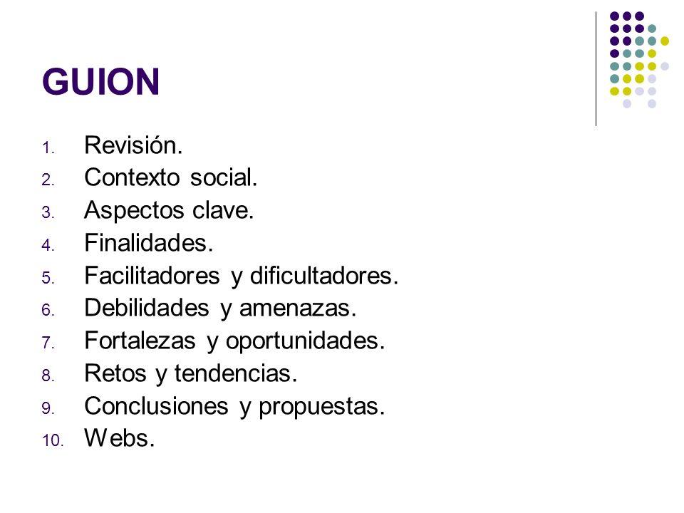 GUION 1. Revisión. 2. Contexto social. 3. Aspectos clave. 4. Finalidades. 5. Facilitadores y dificultadores. 6. Debilidades y amenazas. 7. Fortalezas