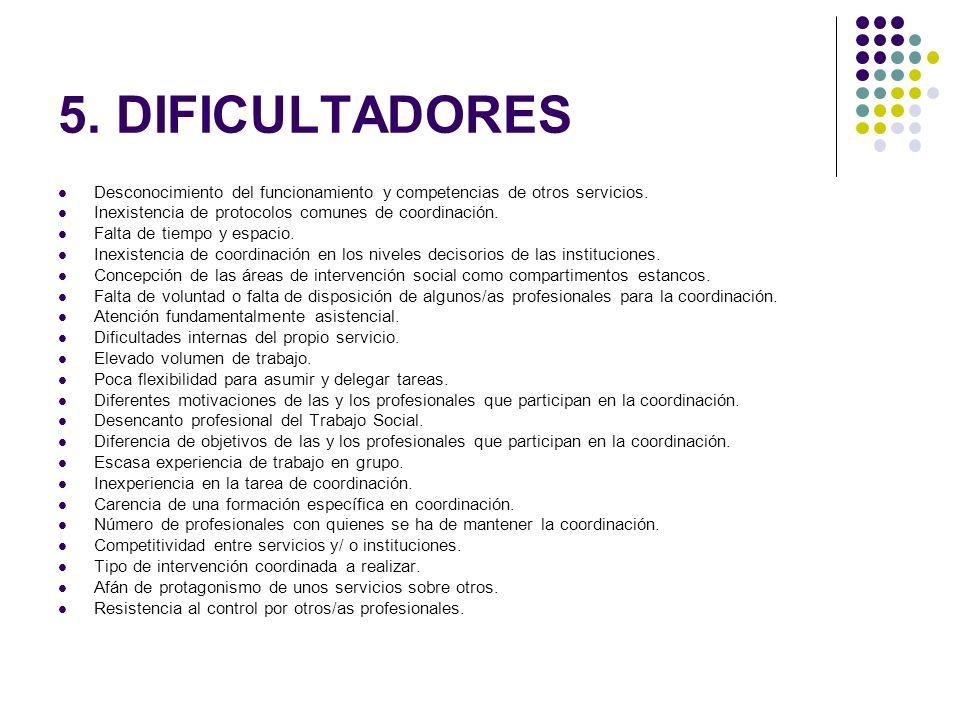 5. DIFICULTADORES Desconocimiento del funcionamiento y competencias de otros servicios. Inexistencia de protocolos comunes de coordinación. Falta de t