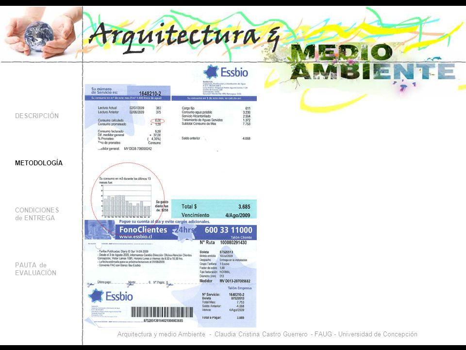 DESCRIPCIÓN CONDICIONES de ENTREGA PAUTA de EVALUACIÓN Trabajo Nº1 METODOLOGÍA ANÁLISIS de los CONSUMOS de AGUA y ENERGÍA en 2 UNIDADES HABITACIONALES Arquitectura y medio Ambiente - Claudia Cristina Castro Guerrero - FAUG - Universidad de Concepción