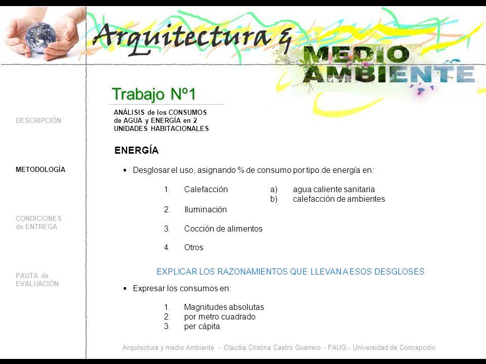 DESCRIPCIÓN CONDICIONES de ENTREGA PAUTA de EVALUACIÓN Trabajo Nº1 METODOLOGÍA ANÁLISIS de los CONSUMOS de AGUA y ENERGÍA en 2 UNIDADES HABITACIONALES Arquitectura y medio Ambiente - Claudia Cristina Castro Guerrero - FAUG - Universidad de Concepción ENERGÍA a) agua caliente sanitaria b) calefacción de ambientes Expresar los consumos en: Desglosar el uso, asignando % de consumo por tipo de energía en: 1.