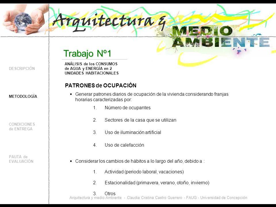 DESCRIPCIÓN CONDICIONES de ENTREGA PAUTA de EVALUACIÓN Trabajo Nº1 METODOLOGÍA ANÁLISIS de los CONSUMOS de AGUA y ENERGÍA en 2 UNIDADES HABITACIONALES Arquitectura y medio Ambiente - Claudia Cristina Castro Guerrero - FAUG - Universidad de Concepción PATRONES de OCUPACIÓN Considerar los cambios de hábitos a lo largo del año, debido a : Generar patrones diarios de ocupación de la vivienda considerando franjas horarias caracterizadas por: 1.