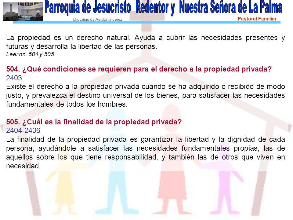 Diócesis de Asidonia-Jerez Pastoral Familiar La propiedad es un derecho natural.
