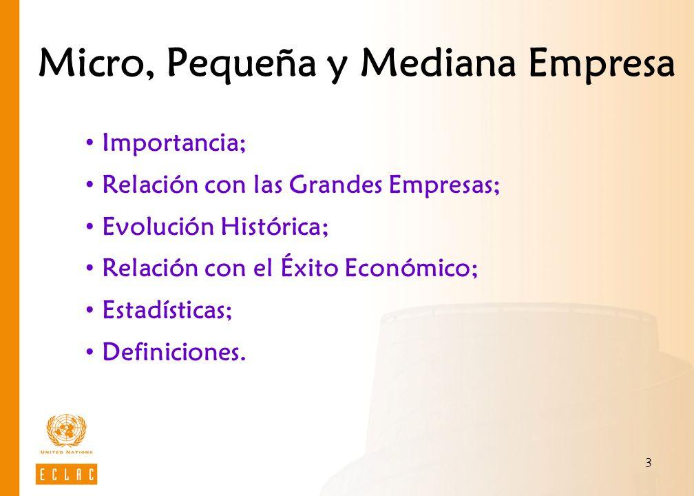 3 Micro, Pequeña y Mediana Empresa Importancia; Relación con las Grandes Empresas; Evolución Histórica; Relación con el Éxito Económico; Estadísticas;