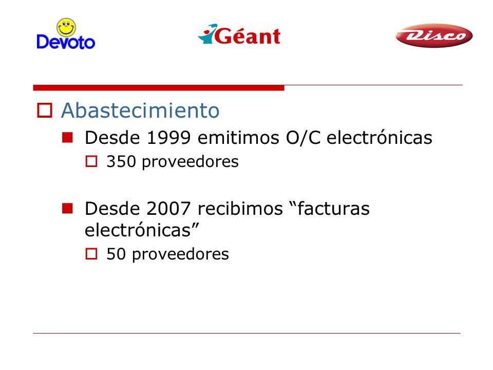 Abastecimiento Desde 1999 emitimos O/C electrónicas 350 proveedores Desde 2007 recibimos facturas electrónicas 50 proveedores