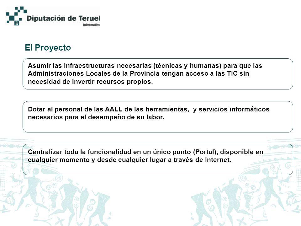 El Proyecto Asumir las infraestructuras necesarias (técnicas y humanas) para que las Administraciones Locales de la Provincia tengan acceso a las TIC sin necesidad de invertir recursos propios.