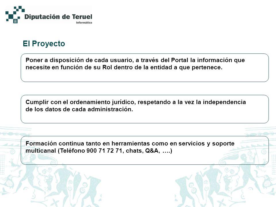 El Proyecto Poner a disposición de cada usuario, a través del Portal la información que necesite en función de su Rol dentro de la entidad a que perte