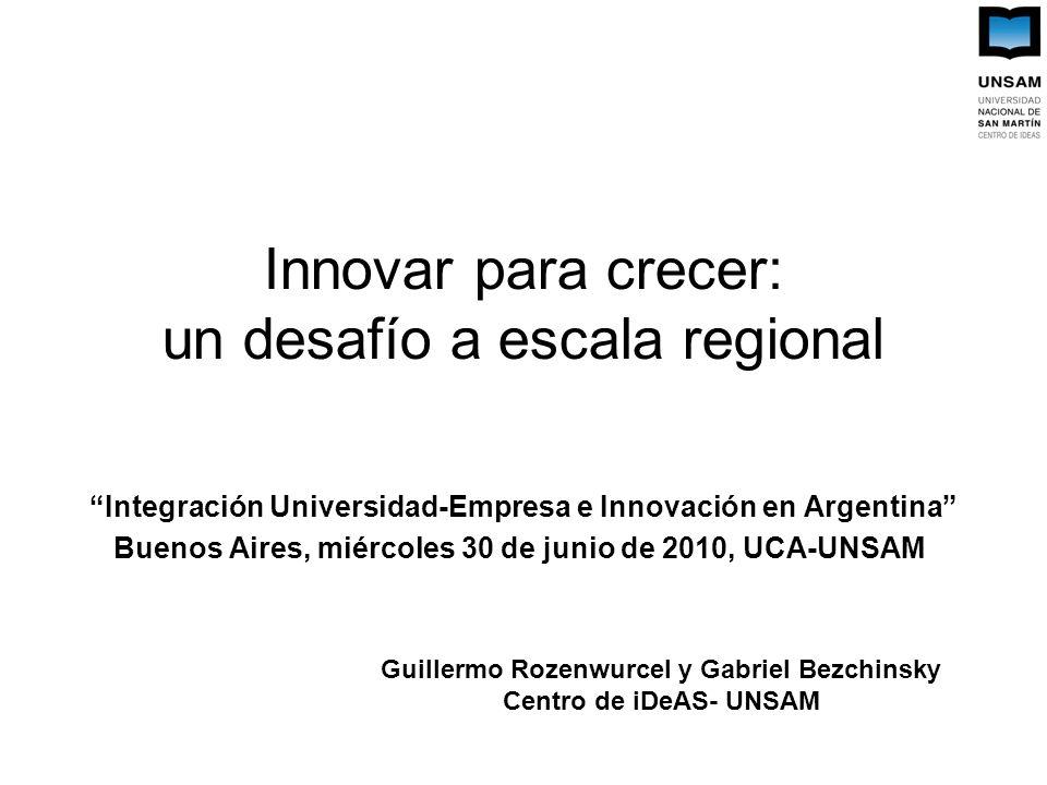 Innovar para crecer: un desafío a escala regional Integración Universidad-Empresa e Innovación en Argentina Buenos Aires, miércoles 30 de junio de 2010, UCA-UNSAM Guillermo Rozenwurcel y Gabriel Bezchinsky Centro de iDeAS- UNSAM