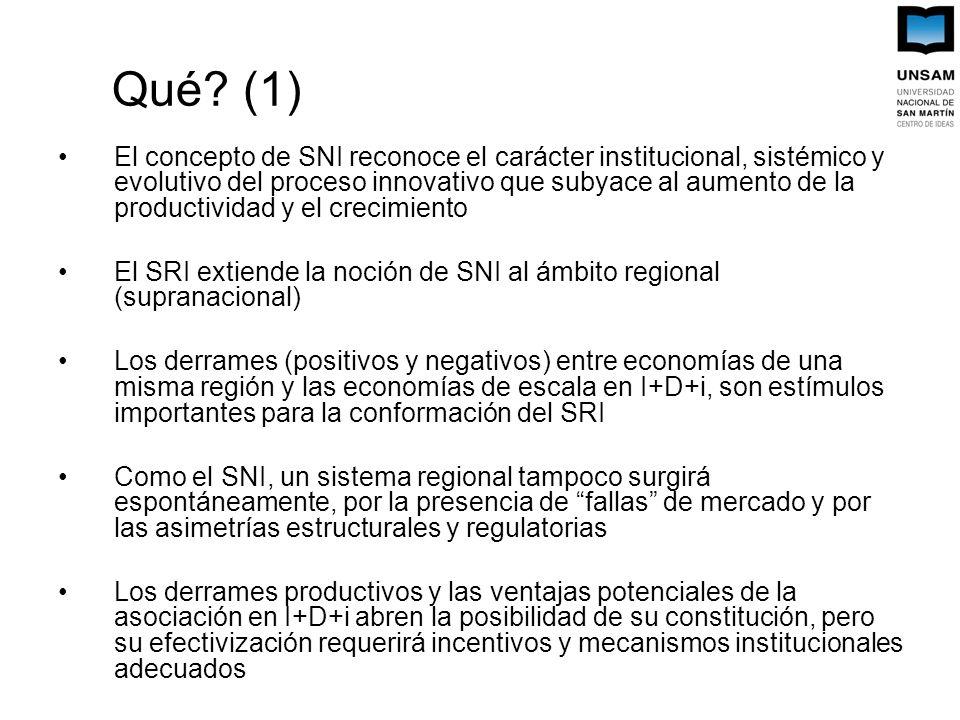 Qué? (1) El concepto de SNI reconoce el carácter institucional, sistémico y evolutivo del proceso innovativo que subyace al aumento de la productivida