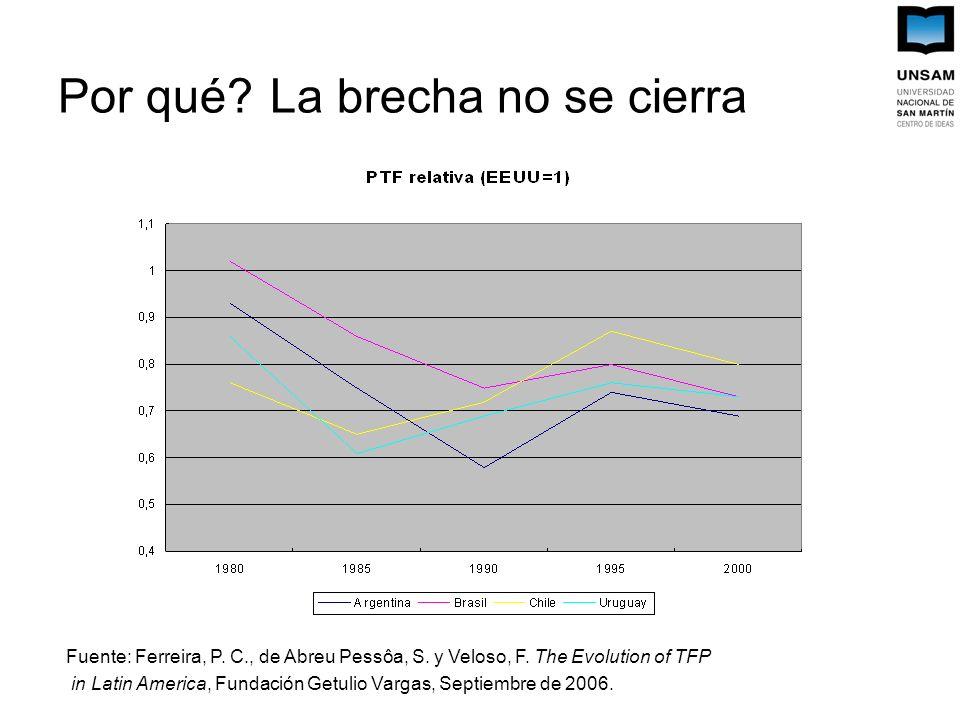 Por qué. La brecha no se cierra Fuente: Ferreira, P.