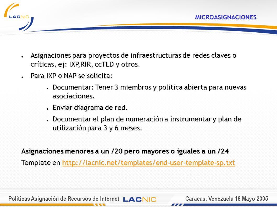 Políticas Asignación de Recursos de InternetCaracas, Venezuela 18 Mayo 2005MICROASIGNACIONES Asignaciones para proyectos de infraestructuras de redes claves o críticas, ej: IXP,RIR, ccTLD y otros.