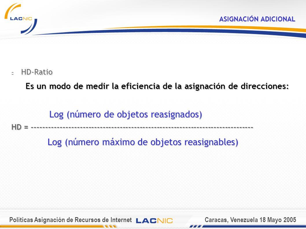 Políticas Asignación de Recursos de InternetCaracas, Venezuela 18 Mayo 2005 ASIGNACIÓN ADICIONAL HD-Ratio Es un modo de medir la eficiencia de la asignación de direcciones: Log (número de objetos reasignados) Log (número de objetos reasignados) HD = ------------------------------------------------------------------------------ Log (número máximo de objetos reasignables) Log (número máximo de objetos reasignables)