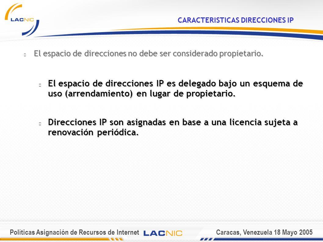 Políticas Asignación de Recursos de InternetCaracas, Venezuela 18 Mayo 2005 VENTANA DE REASIGNACION /23 /20 Asignación Por LACNIC Reasignación por ISP con autorización LACNIC LACNIC Reasignación por ISP