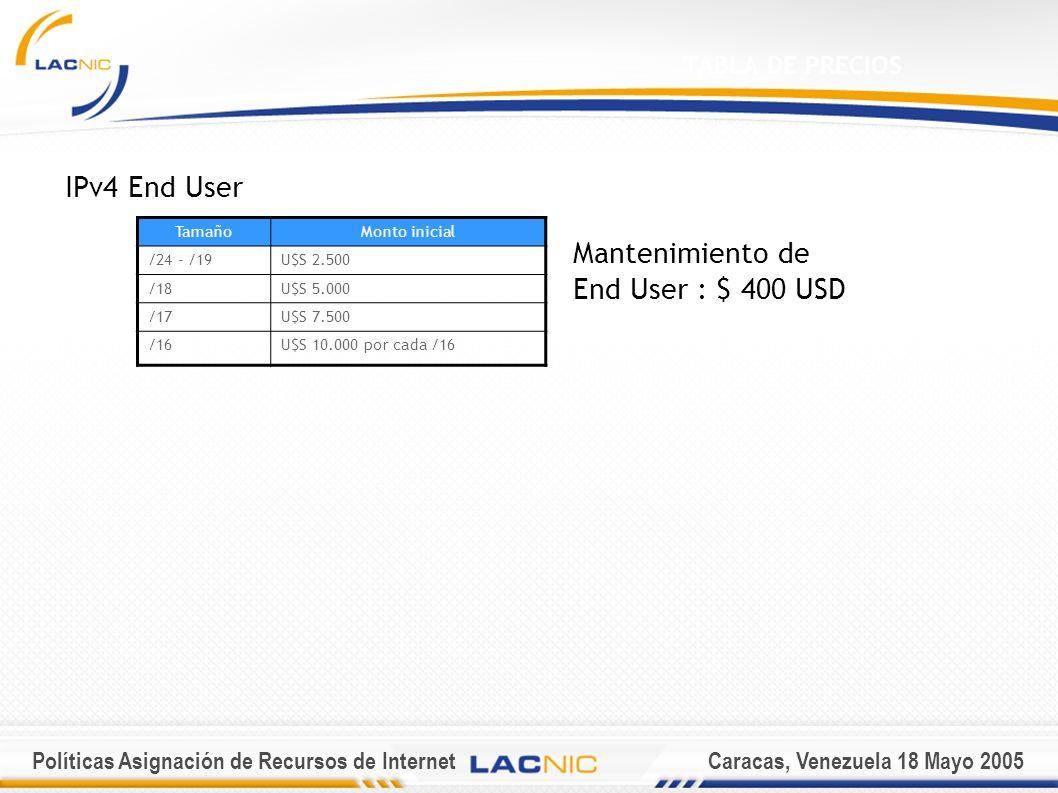 Políticas Asignación de Recursos de InternetCaracas, Venezuela 18 Mayo 2005 TABLA DE PRECIOS IPv4 End User Mantenimiento de End User : $ 400 USD TamañoMonto inicial /24 - /19U$S 2.500 /18U$S 5.000 /17U$S 7.500 /16U$S 10.000 por cada /16
