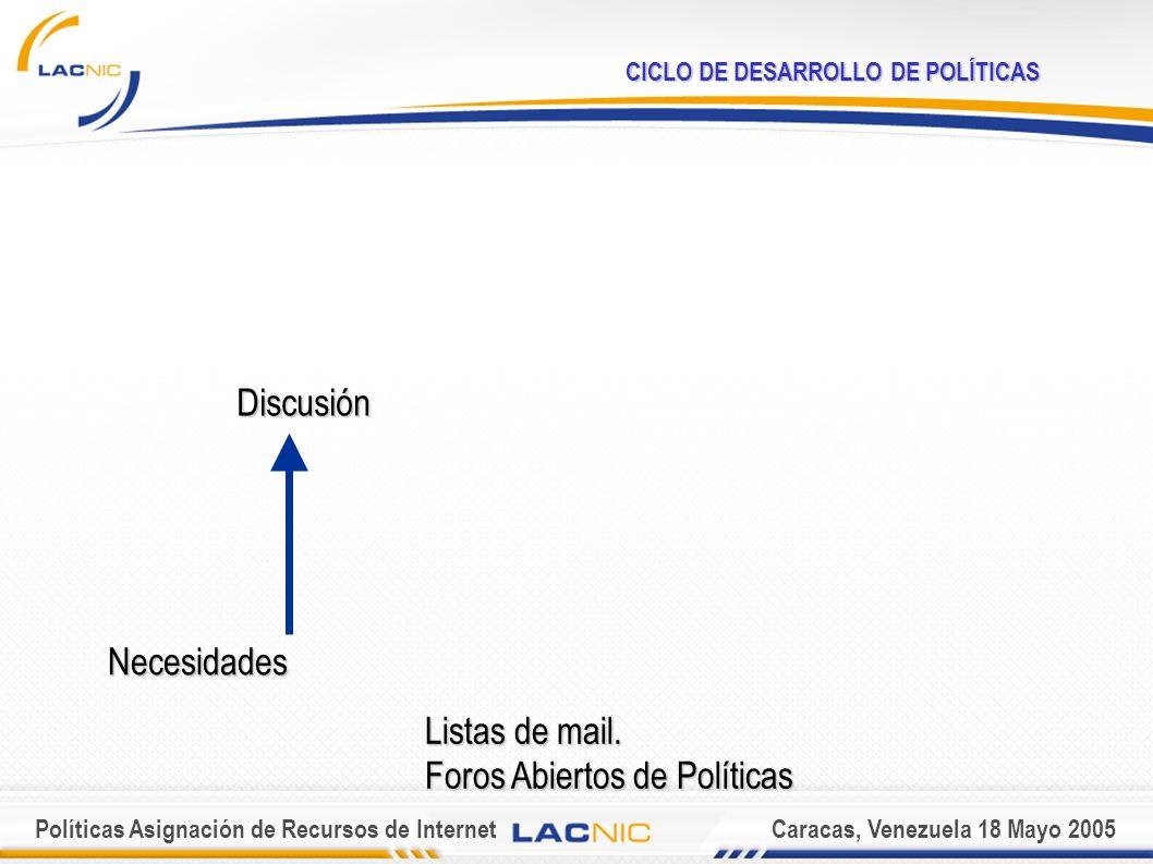 Políticas Asignación de Recursos de InternetCaracas, Venezuela 18 Mayo 2005 CICLO DE DESARROLLO DE POLÍTICAS Necesidades Discusión Listas de mail.