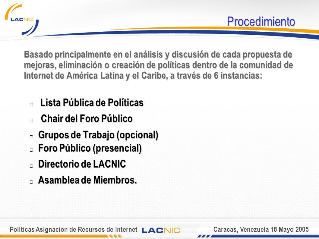 Políticas Asignación de Recursos de InternetCaracas, Venezuela 18 Mayo 2005 Procedimiento Basado principalmente en el análisis y discusión de cada propuesta de mejoras, eliminación o creación de políticas dentro de la comunidad de Internet de América Latina y el Caribe, a través de 6 instancias: Lista Pública de Políticas Lista Pública de Políticas Chair del Foro Público Chair del Foro Público Grupos de Trabajo (opcional) Grupos de Trabajo (opcional) Foro Público (presencial) Foro Público (presencial) Directorio de LACNIC Directorio de LACNIC Asamblea de Miembros.