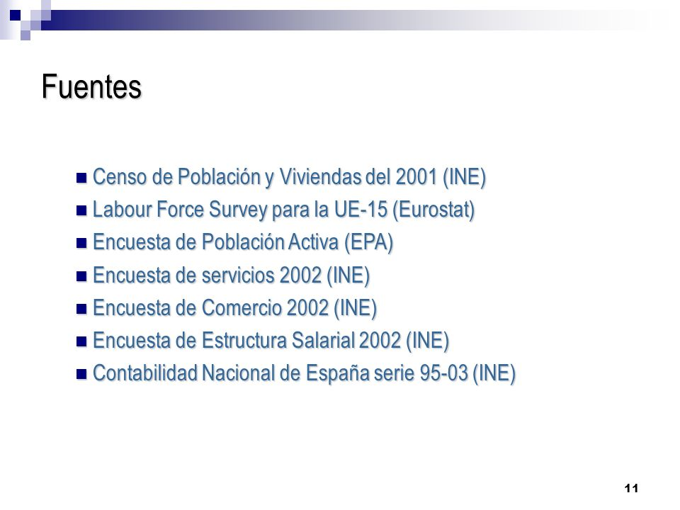 11 Fuentes Censo de Población y Viviendas del 2001 (INE) Censo de Población y Viviendas del 2001 (INE) Labour Force Survey para la UE-15 (Eurostat) Labour Force Survey para la UE-15 (Eurostat) Encuesta de Población Activa (EPA) Encuesta de Población Activa (EPA) Encuesta de servicios 2002 (INE) Encuesta de servicios 2002 (INE) Encuesta de Comercio 2002 (INE) Encuesta de Comercio 2002 (INE) Encuesta de Estructura Salarial 2002 (INE) Encuesta de Estructura Salarial 2002 (INE) Contabilidad Nacional de España serie 95-03 (INE) Contabilidad Nacional de España serie 95-03 (INE)