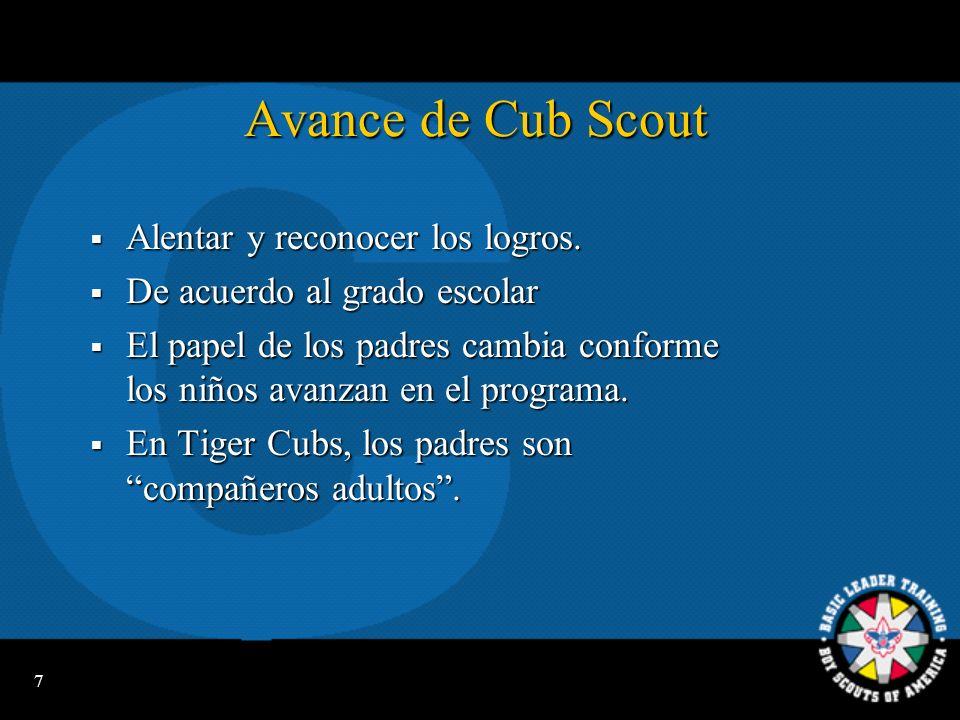 7 Avance de Cub Scout Alentar y reconocer los logros.