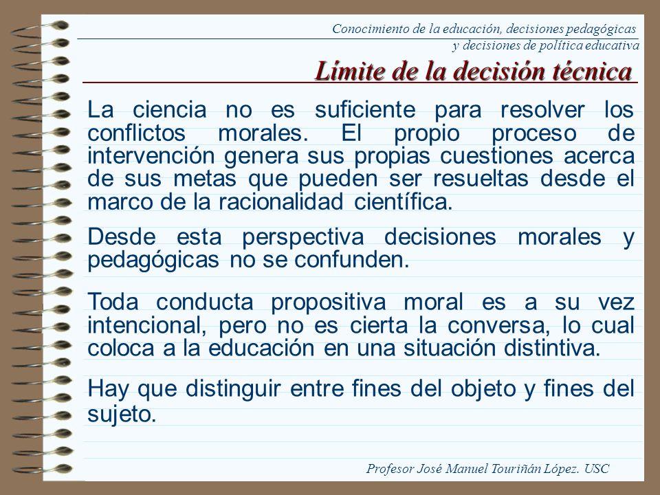 Límite de la decisión técnica La ciencia no es suficiente para resolver los conflictos morales. El propio proceso de intervención genera sus propias c