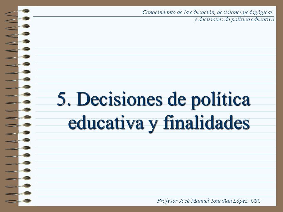 5. Decisiones de política educativa y finalidades Conocimiento de la educación, decisiones pedagógicas y decisiones de política educativa Profesor Jos