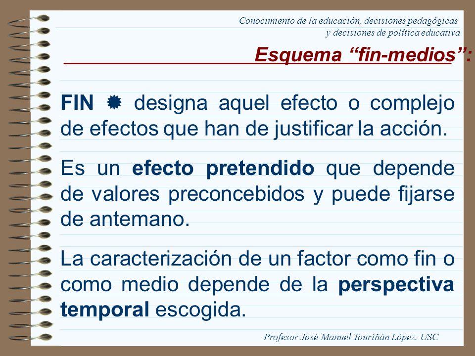 FIN designa aquel efecto o complejo de efectos que han de justificar la acción. Es un efecto pretendido que depende de valores preconcebidos y puede f