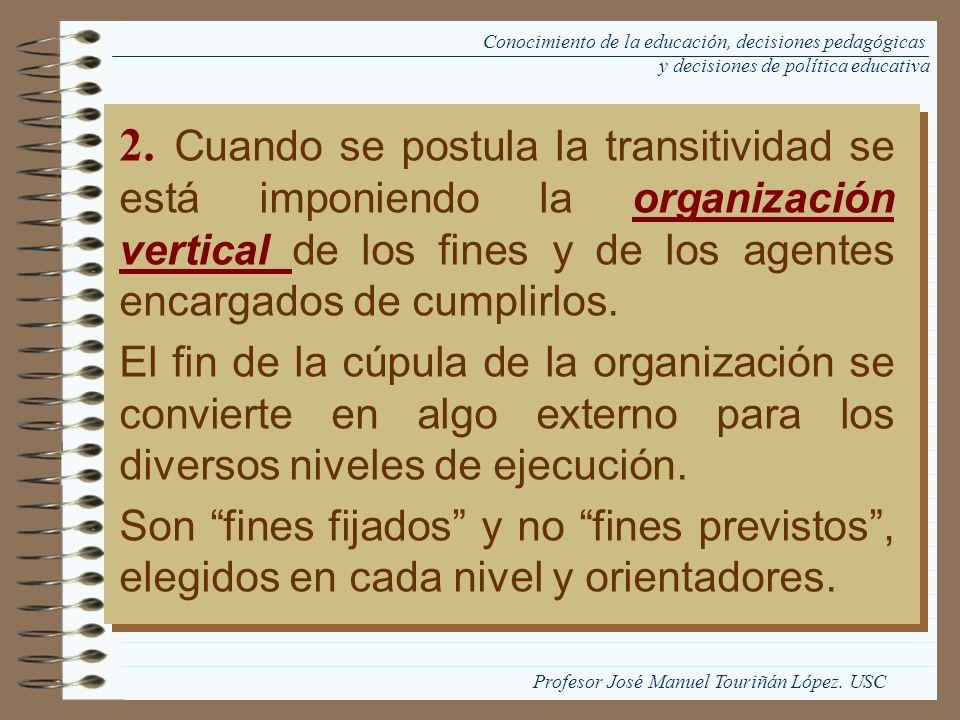 2. Cuando se postula la transitividad se está imponiendo la organización vertical de los fines y de los agentes encargados de cumplirlos. El fin de la