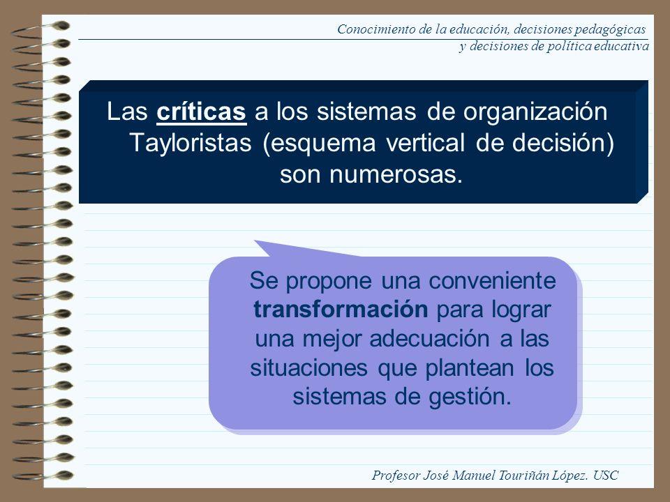 Las críticas a los sistemas de organización Tayloristas (esquema vertical de decisión) son numerosas. Se propone una conveniente transformación para l