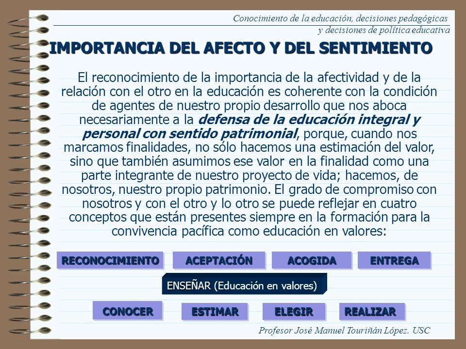 Conocimiento de la educación, decisiones pedagógicas y decisiones de política educativa IMPORTANCIA DEL AFECTO Y DEL SENTIMIENTO El reconocimiento de