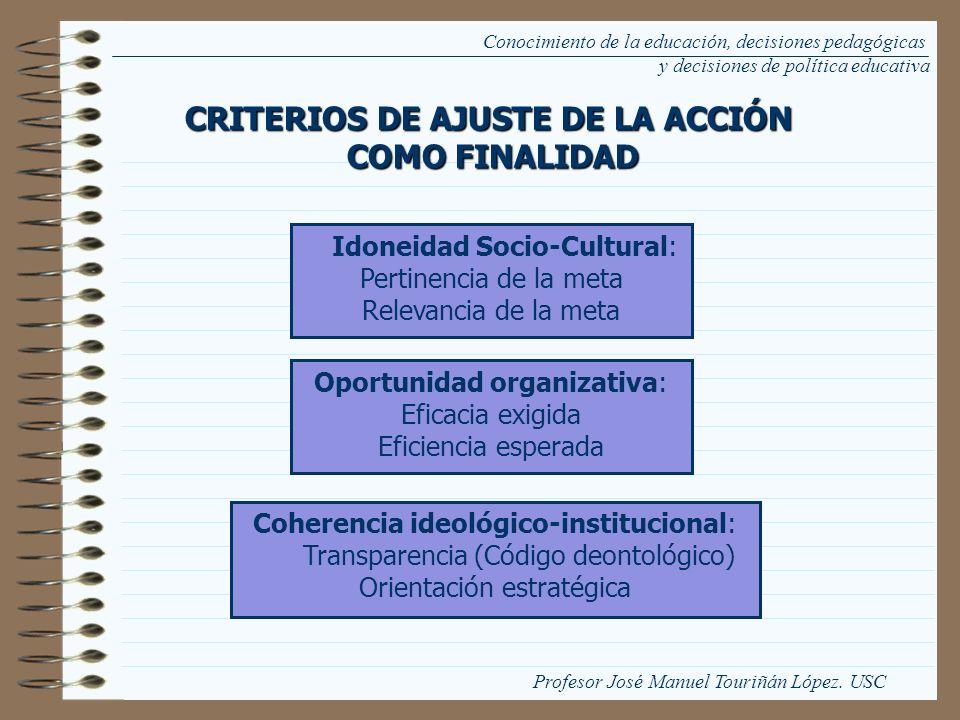 Conocimiento de la educación, decisiones pedagógicas y decisiones de política educativa Idoneidad Socio-Cultural: Pertinencia de la meta Relevancia de