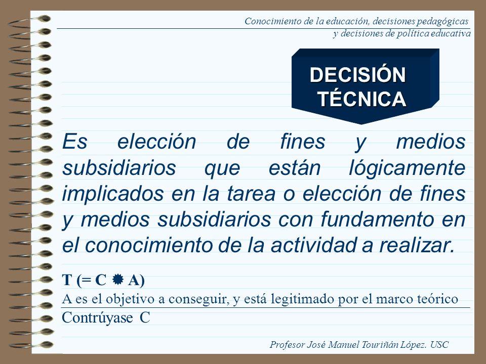 Es elección de fines y medios subsidiarios que están lógicamente implicados en la tarea o elección de fines y medios subsidiarios con fundamento en el