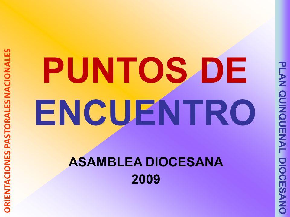 PUNTOS DE ENCUENTRO ASAMBLEA DIOCESANA 2009 PLAN QUINQUENAL DIOCESANO ORIENTACIONES PASTORALES NACIONALES