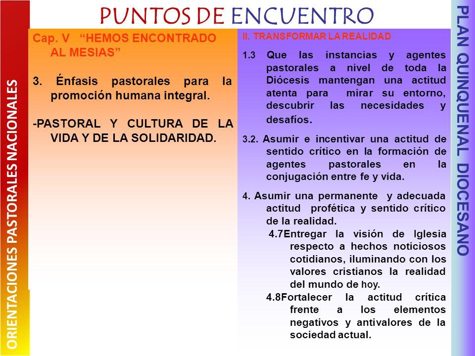 PUNTOS DE ENCUENTRO PLAN QUINQUENAL DIOCESANO II.