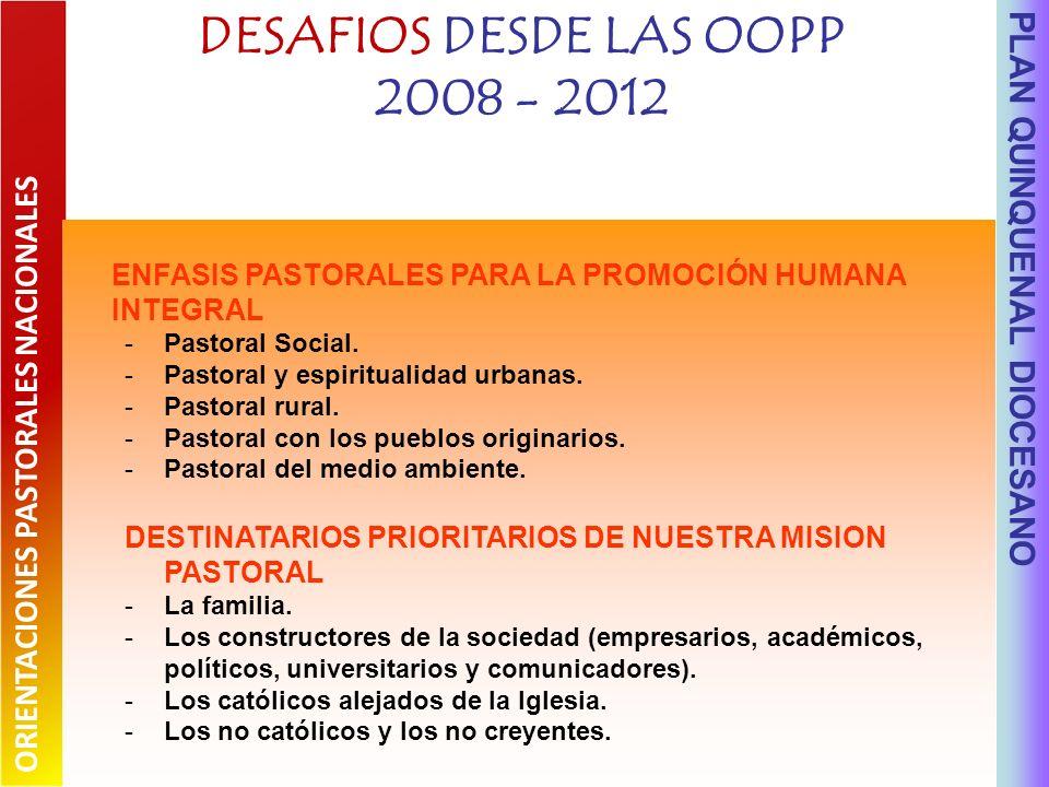 DESAFIOS DESDE LAS OOPP 2008 - 2012 PLAN QUINQUENAL DIOCESANO ENFASIS PASTORALES PARA LA PROMOCIÓN HUMANA INTEGRAL -Pastoral Social.