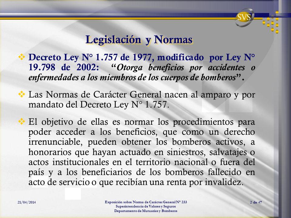 Exposición sobre Norma de Carácter General N° 233 Superintendencia de Valores y Seguros Departamento de Mutuarias y Bomberos 21/04/20142 de 47 Legisla