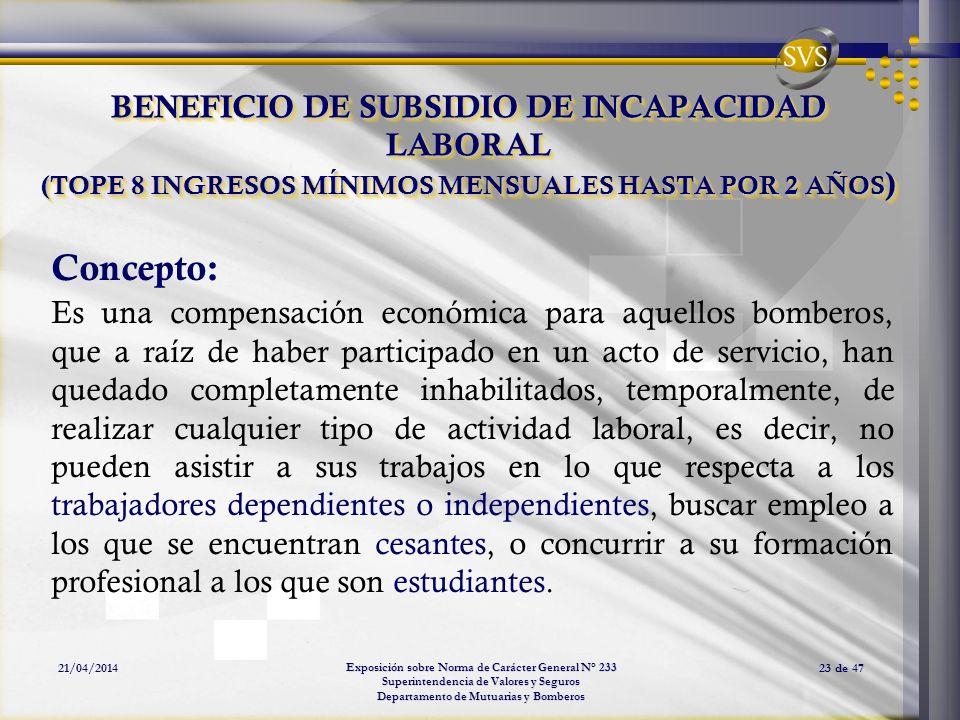 Exposición sobre Norma de Carácter General N° 233 Superintendencia de Valores y Seguros Departamento de Mutuarias y Bomberos 21/04/201423 de 47 BENEFI