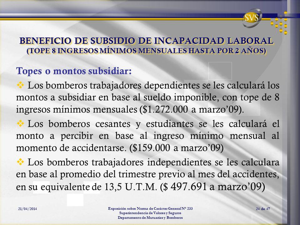 Exposición sobre Norma de Carácter General N° 233 Superintendencia de Valores y Seguros Departamento de Mutuarias y Bomberos 21/04/201424 de 47 BENEFI