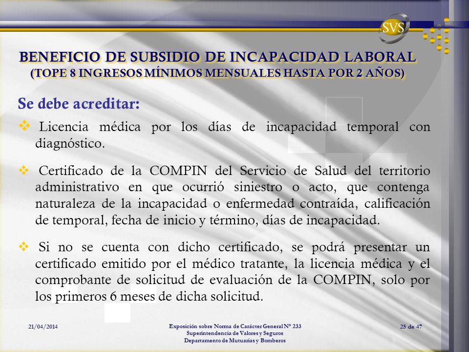 Exposición sobre Norma de Carácter General N° 233 Superintendencia de Valores y Seguros Departamento de Mutuarias y Bomberos 21/04/201425 de 47 BENEFI