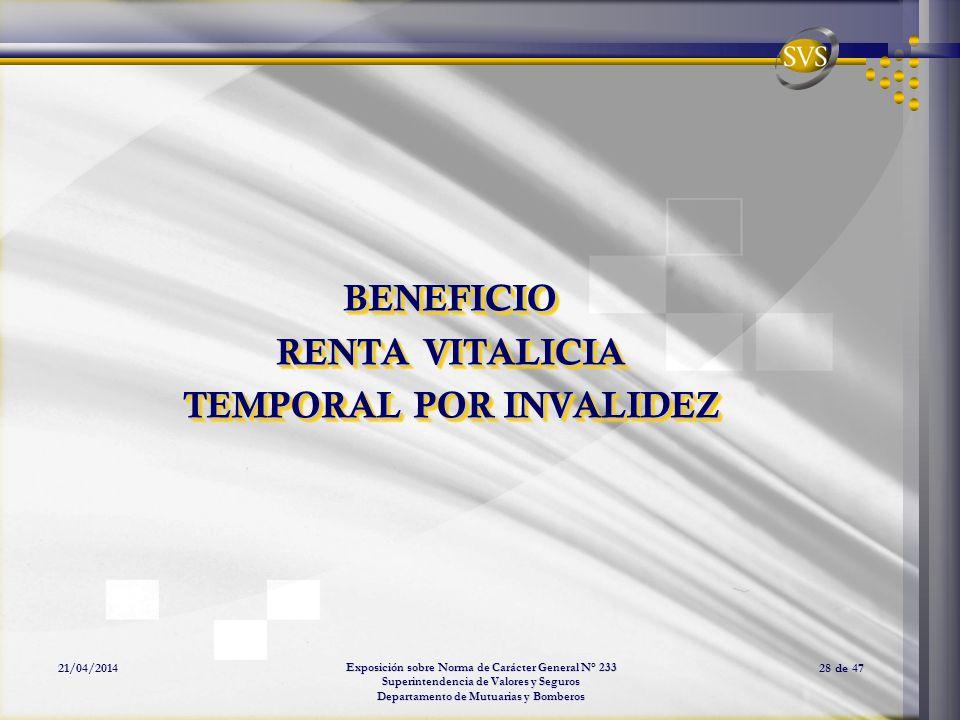 Exposición sobre Norma de Carácter General N° 233 Superintendencia de Valores y Seguros Departamento de Mutuarias y Bomberos 21/04/201428 de 47 BENEFI