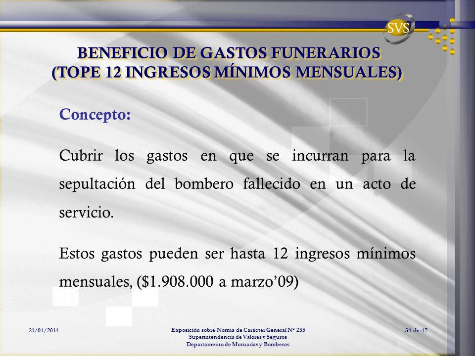 Exposición sobre Norma de Carácter General N° 233 Superintendencia de Valores y Seguros Departamento de Mutuarias y Bomberos 21/04/201434 de 47 BENEFI