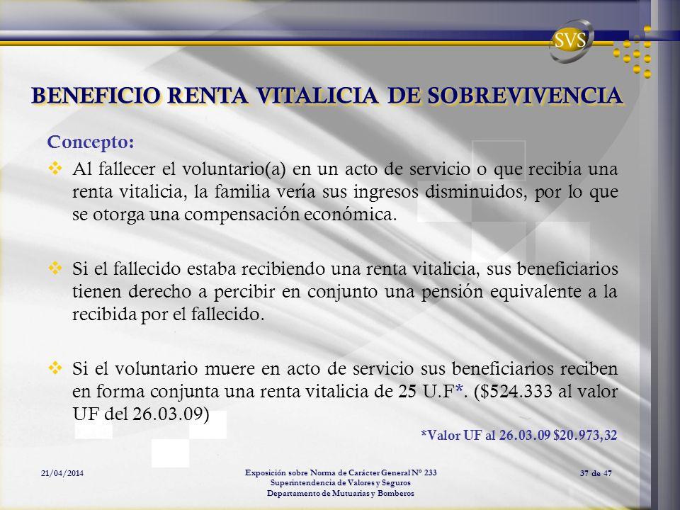 Exposición sobre Norma de Carácter General N° 233 Superintendencia de Valores y Seguros Departamento de Mutuarias y Bomberos 21/04/201437 de 47 BENEFI