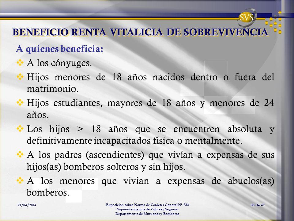 Exposición sobre Norma de Carácter General N° 233 Superintendencia de Valores y Seguros Departamento de Mutuarias y Bomberos 21/04/201438 de 47 BENEFI