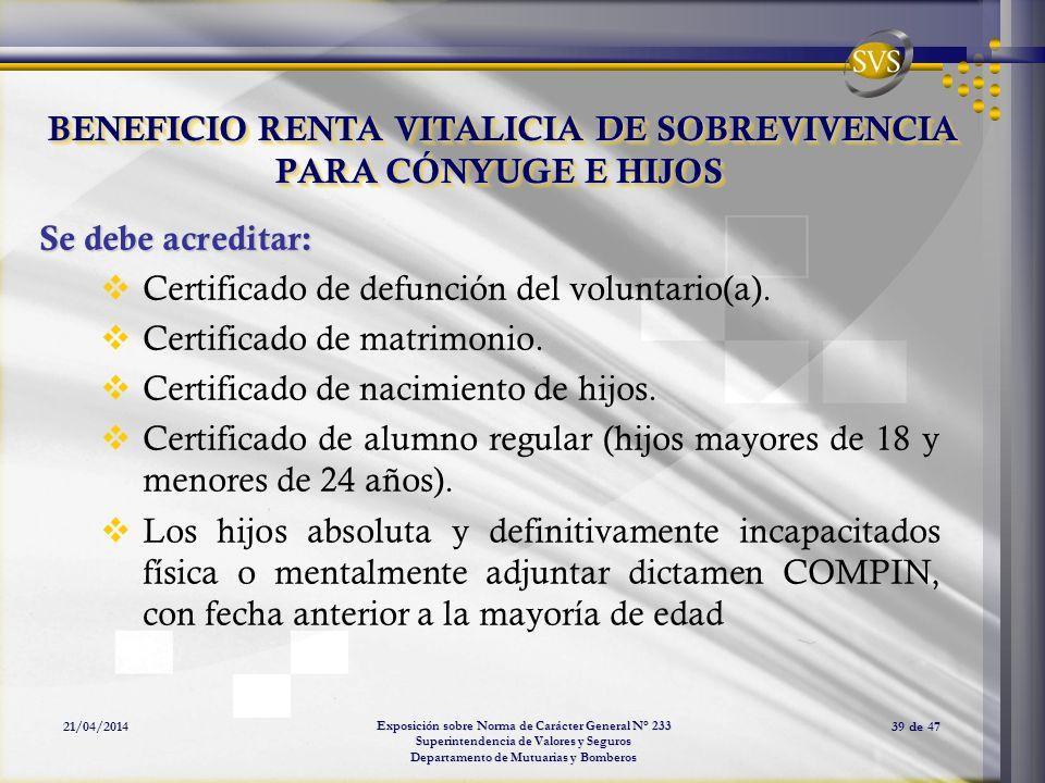 Exposición sobre Norma de Carácter General N° 233 Superintendencia de Valores y Seguros Departamento de Mutuarias y Bomberos 21/04/201439 de 47 BENEFI