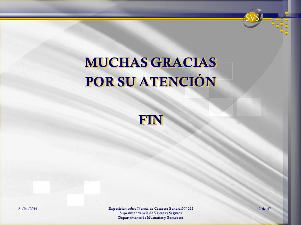 Exposición sobre Norma de Carácter General N° 233 Superintendencia de Valores y Seguros Departamento de Mutuarias y Bomberos 21/04/201447 de 47 MUCHAS