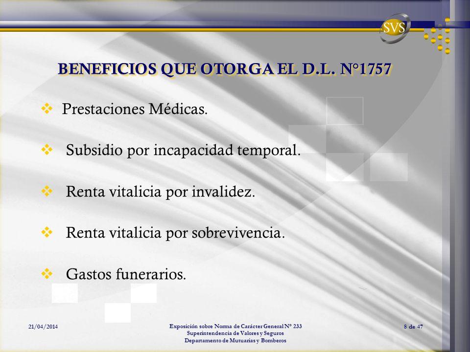 Exposición sobre Norma de Carácter General N° 233 Superintendencia de Valores y Seguros Departamento de Mutuarias y Bomberos 21/04/20148 de 47 BENEFIC