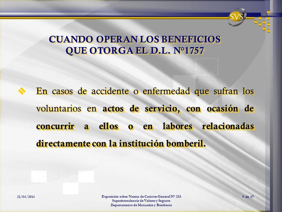 Exposición sobre Norma de Carácter General N° 233 Superintendencia de Valores y Seguros Departamento de Mutuarias y Bomberos 21/04/20149 de 47 CUANDO