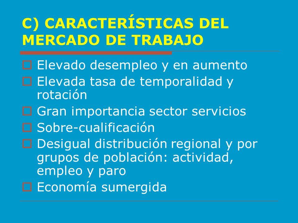 C) CARACTERÍSTICAS DEL MERCADO DE TRABAJO Elevado desempleo y en aumento Elevada tasa de temporalidad y rotación Gran importancia sector servicios Sob