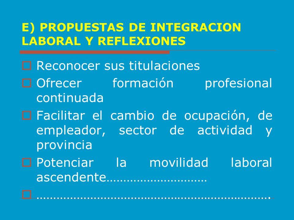 E) PROPUESTAS DE INTEGRACION LABORAL Y REFLEXIONES Reconocer sus titulaciones Ofrecer formación profesional continuada Facilitar el cambio de ocupació