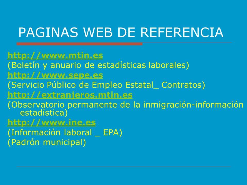 PAGINAS WEB DE REFERENCIA http://www.mtin.es (Boletín y anuario de estadísticas laborales) http://www.sepe.es (Servicio Público de Empleo Estatal_ Con