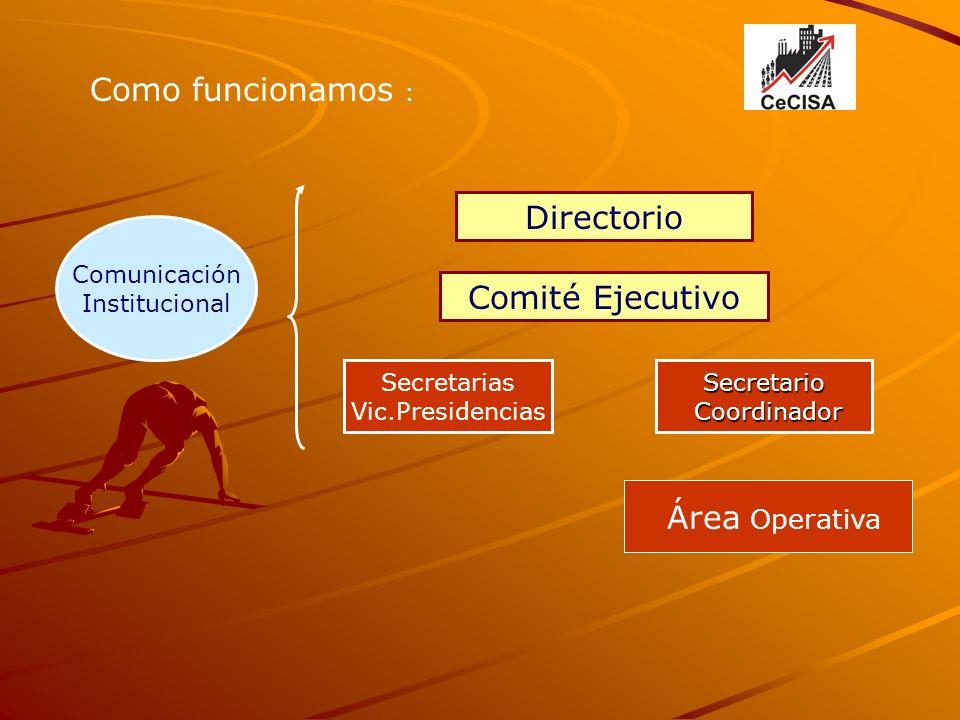 Como funcionamos : Directorio Comité Ejecutivo Secretario Coordinador Coordinador Área Operativa Comunicación Institucional Secretarias Vic.Presidencias