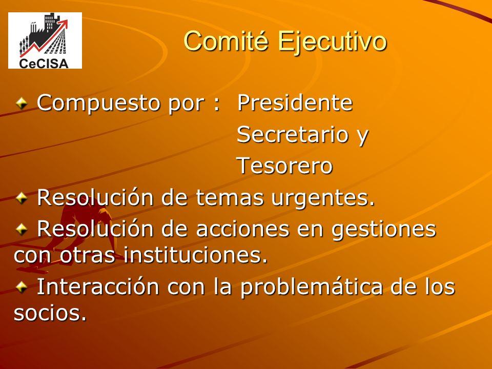 Comité Ejecutivo Compuesto por : Presidente Compuesto por : Presidente Secretario y Secretario y Tesorero Tesorero Resolución de temas urgentes.