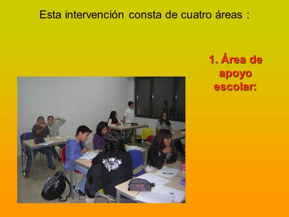 Esta intervención consta de cuatro áreas : 1. Área de apoyo escolar: